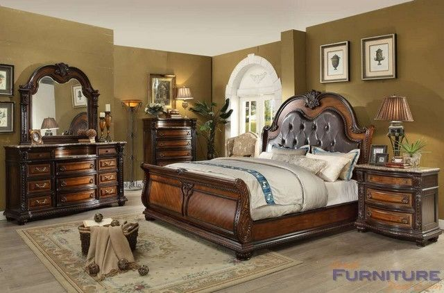 Mcferran Home Furnishings Bellevue 4pcs Cherry Cal King Sleigh