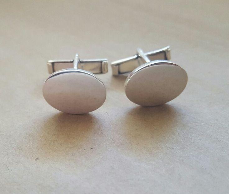 Cufflinks - OVAL MEDIUM - Sterling Silver