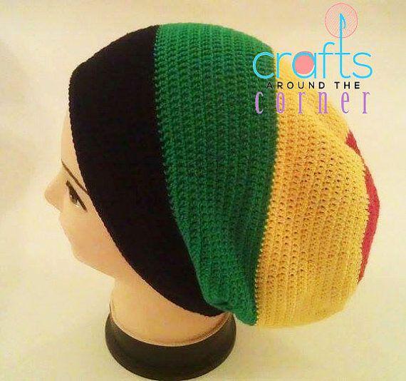 Rasta Knit Hat Pattern : Crochet Rasta Hat Pattern- Beanie - African - PDF - Tam - Dreadlocks Summer...