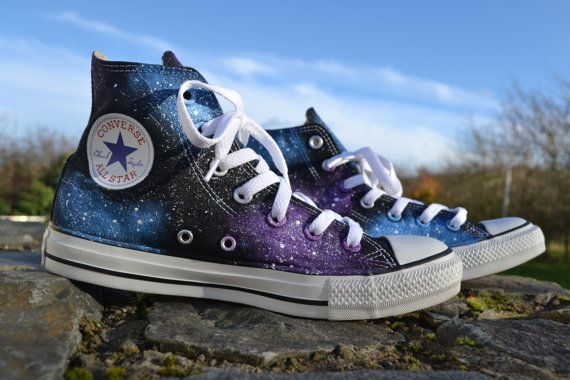 Galaxy Converse Galaxy Hi Tops Custom by SheTalksToRainbows