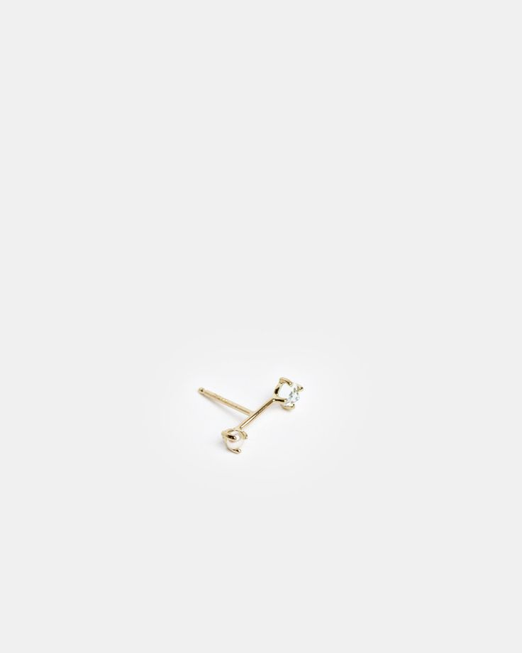 Tiny Neptune Orbit Stud in 14k Gold