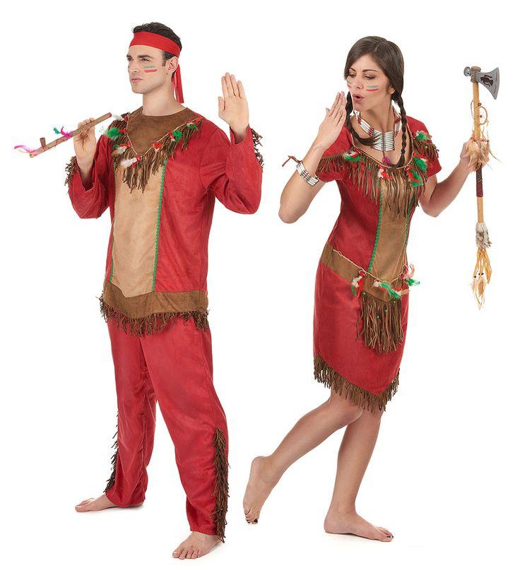 Déguisement de couple indien rouge adulte : Déguisement indienne rouge femmeCe déguisement d'indienne rouge pour femme se compose d'une robe (bandeau, bijoux et collants non inclus). La robe courte effet peau est rouge et...