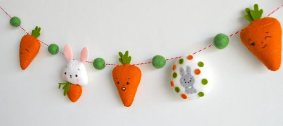 Easter baby garland Easter bunny Rabbit Carrots Easter baby gift Wall art Nursery decor Kids room decoration Baby shower gift