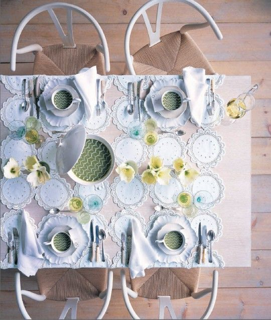 7 - Use this photo of a table setting as a sketch for an original layout. - 1 pt: Tables Sets, Paper Doilies, Christmas Sewing Projects, Sewing Home Decor, Dinners Parties, Martha Stewart, Teas Parties, Doilies Tablecloths, Baby Shower