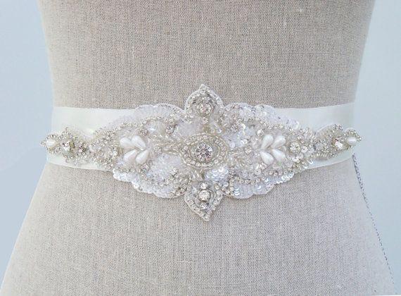 Bridal Belt  Crystal Beaded Rhinestone Bridal Sash  by SparkleSM, $165.00