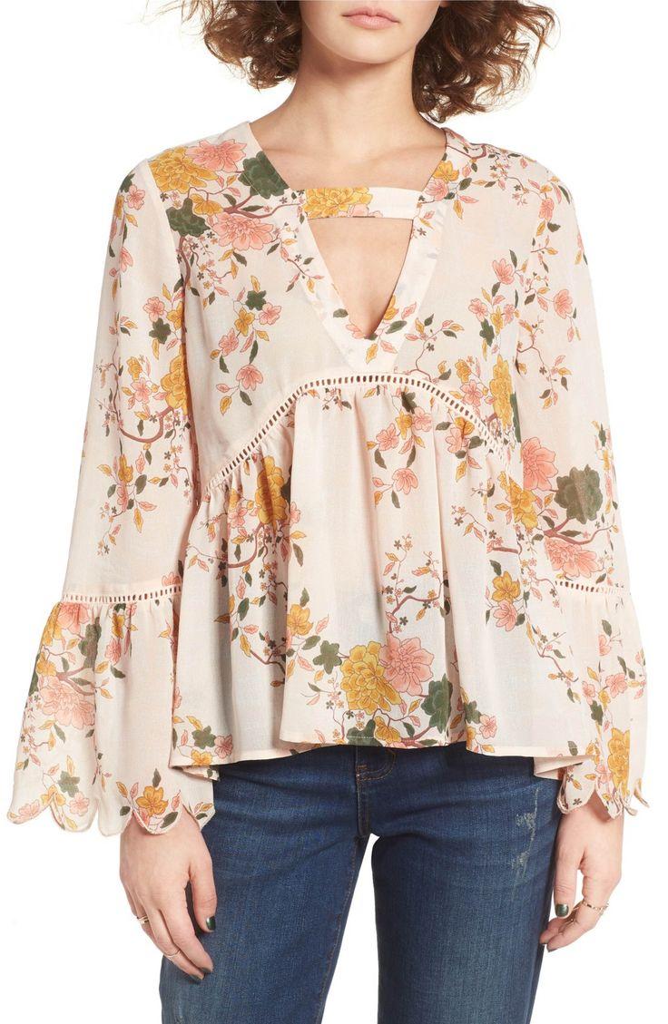 Main Image - Sun & Shadow Floral Print Bell Sleeve Blouse