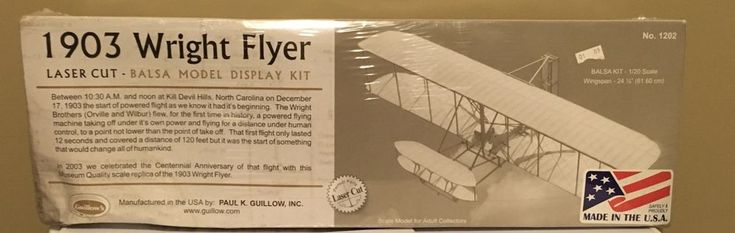 1903 Wright Flyer Laser Cut Balsa Model Display Kit 1202 Guillow's 1/20 Scale  #Guillows