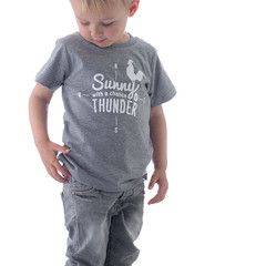 Grey marle kids tee - Sunny with a chance of THUNDER