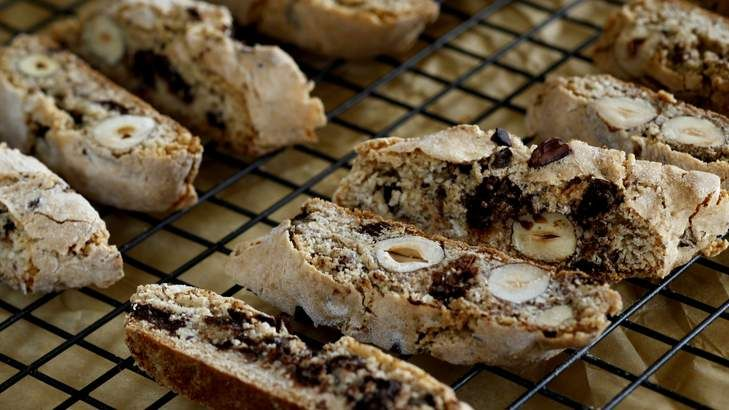 Cocoa nib and hazelnut biscotti. These fragrant 'choc chip' biscuits harden as they cool, becoming very crisp.