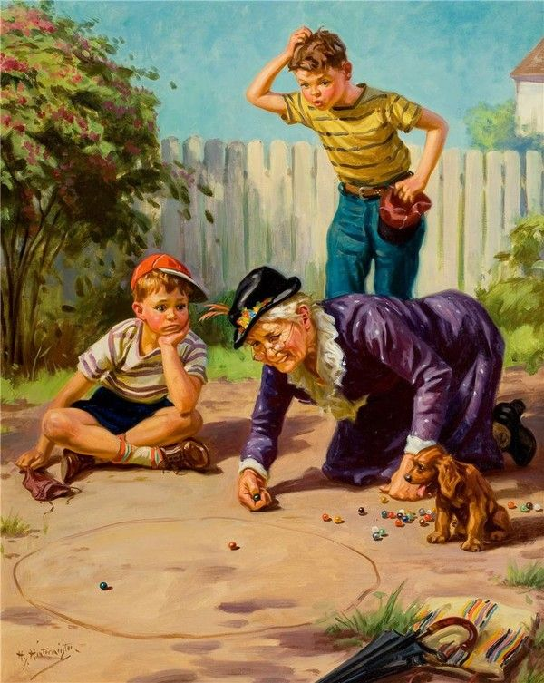 "Henry Hintermeister ~ ""Granny's Playing Marbles"""