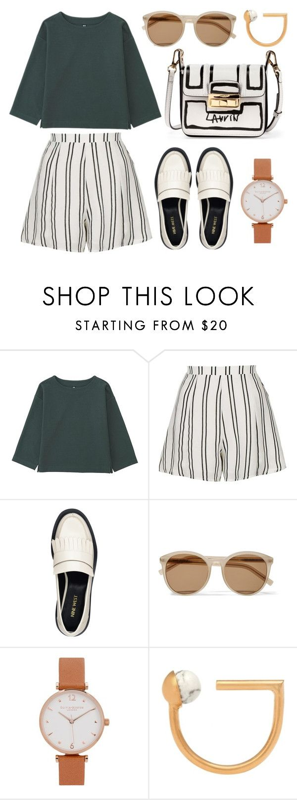 """""""wide shirt"""" by indirag on Polyvore featuring Uniqlo, Topshop, Nine West, Yves Saint Laurent, Olivia Burton, LeiVanKash and Lanvin"""