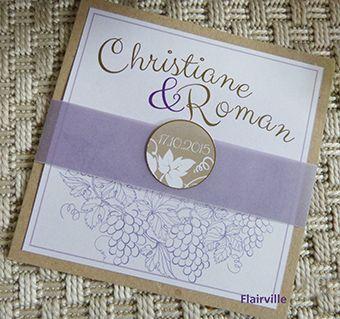 Einladungskarten Hochzeit zum Thema Wein in flieder und Beerentönen. Wedding Invitation Wine