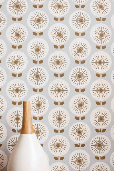 Removable wallpaper, retro, gold, silver
