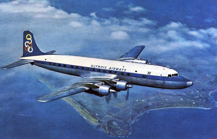 Olympic Airways Card postal Douglas DC-6B