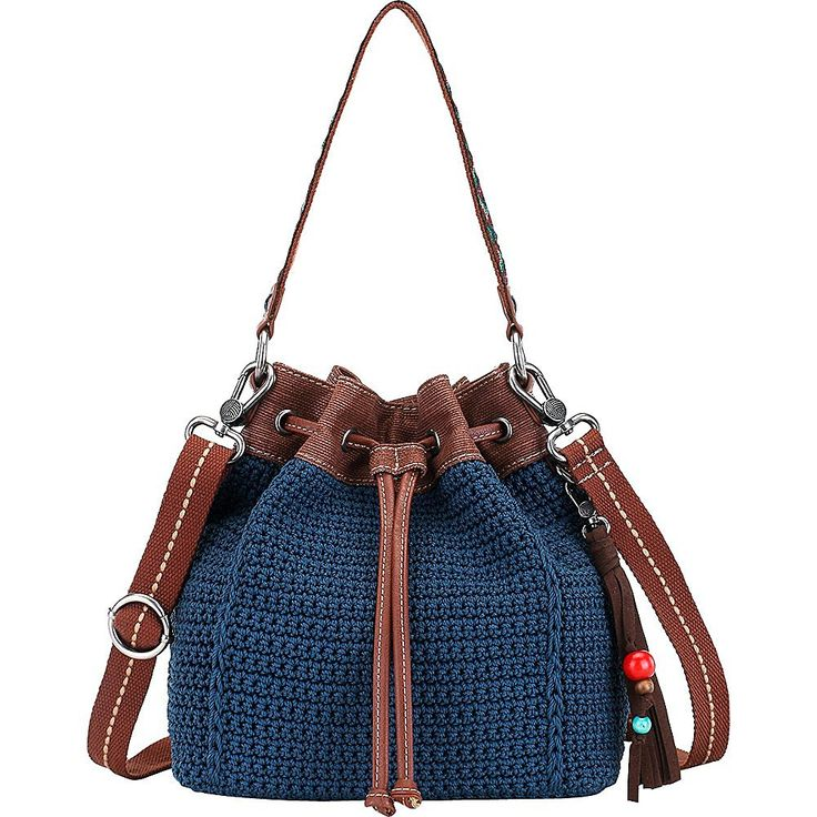 The Sak Ukiah Crochet Drawstring (Black Pearl Static): Handbags: Amazon.com
