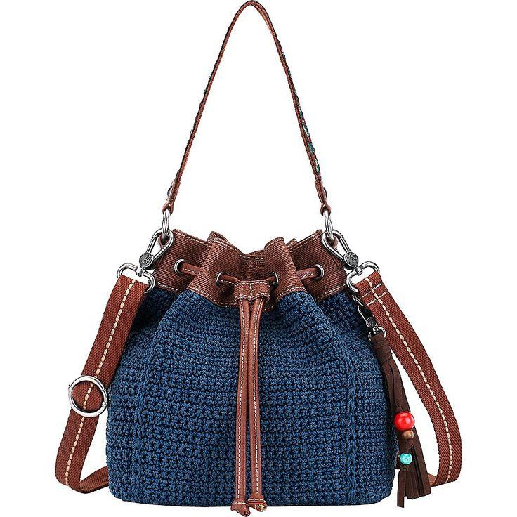 The Sak Ukiah Crochet Drawstring (Black Pearl Static): Handbags: Amazon.com
