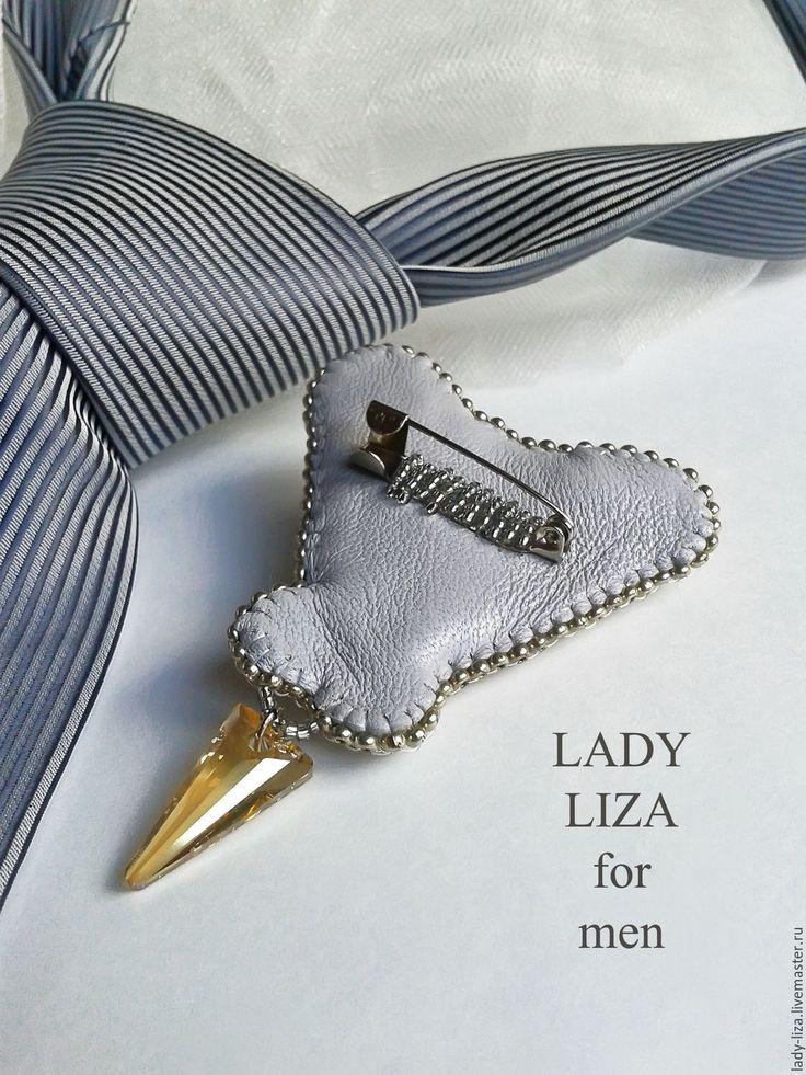 Купить НОВИНКА Брошь на галстук Роман. Мужские украшения. Подарок мужчине. - бежевый, серебряный, серебро