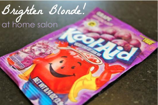 To brighten hair at home, you can use Grape Kool-Aid. Might have to give it a try.Purple Hair, Blondes Hair, Kool Aid, Hair Colors, Blonde Hair, Purple Shampoos, Koolaid, Hair Recipe, Brightening Blondes