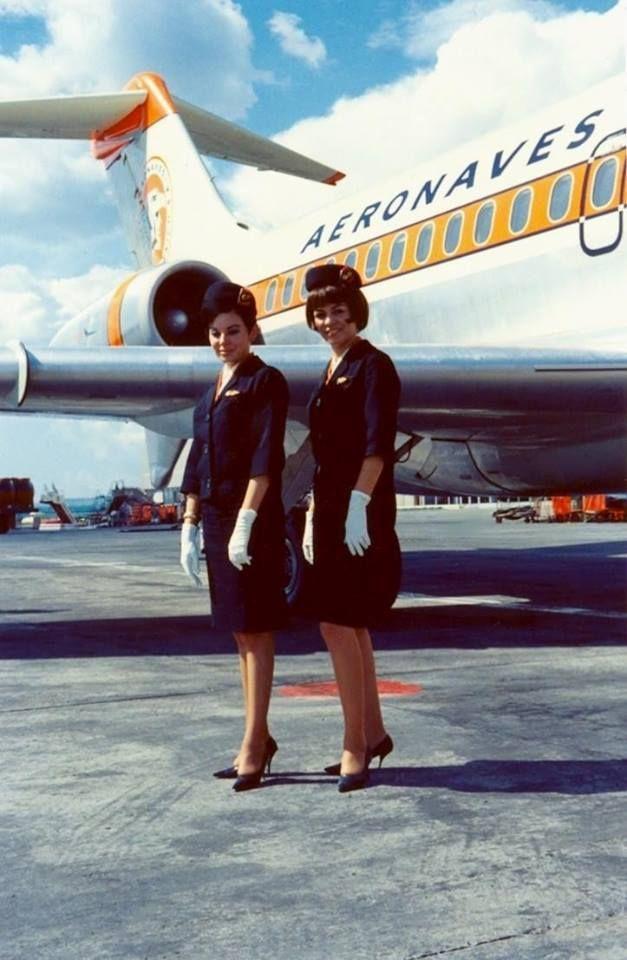 """Douglas DC-10 15 XA-SOA y sobrecargos, Aeronaves de México, aeropuerto internacional Miguel Hidalgo, Guadalajara, Jal.-1967. """"Por: José Carreño.  """""""