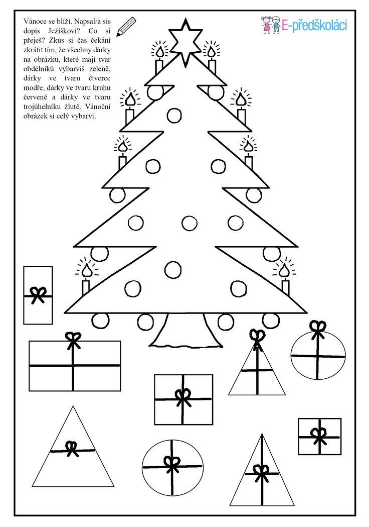 Pracovní list - vánoční stromeček - geometrické tvary