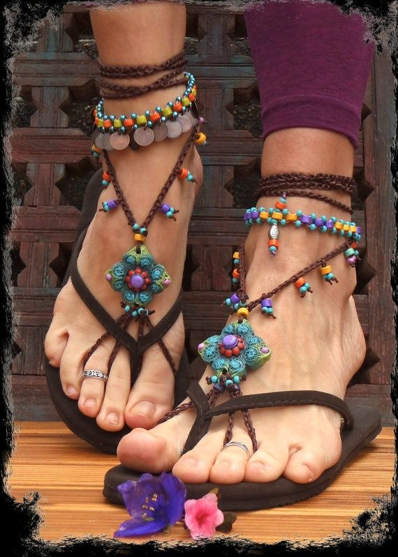 Green BAREFOOT SANDALS SUMMER crochet sandals Hippie beaded soleless shoes foot jewelry beach wedding Bohemian Gypsy shoes photo shoot props | See more about crochet sandals, beach weddings and sandals.