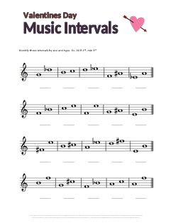 Valentines Music Theory Worksheet: Music Intervals free printable. Tons of other free music worksheets on this site!