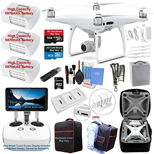 DJI Phantom 4 PRO PLUS (PRO ) Drone Quadcopter (Remote W/ Integrated Touch Screen Display) Bundle Kit with 3 Batteries, 4K Professional Camera Gimbal and MUST HAVE Accessories