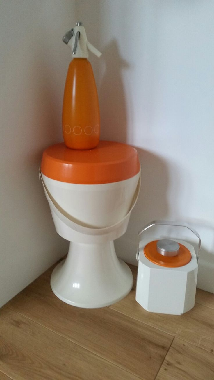 1970's sewing box, icebucket and soda syphon for our mid century style lounge.