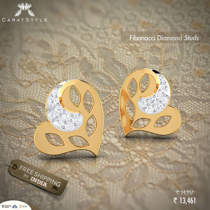 Heart shaped #studs with the affection of #diamonds!♥ ‪ #earring #diamond #diamondearring #goldearring #goldjewellery #diamondjewellery #gold #fashion #lifestyle #golddiamondstuds #studearringsonline #studsonlineindia #diamondstudearrings #goldstudearrings