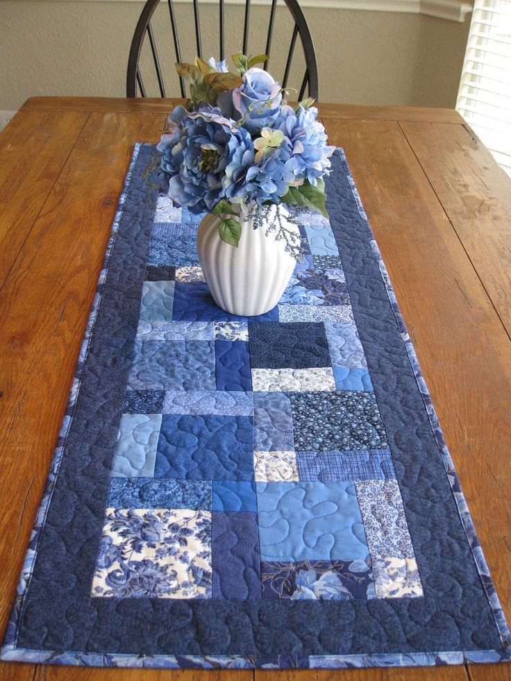 Shades of Blue Patchwork Table Runner by Quiltedhearts5 on Etsy