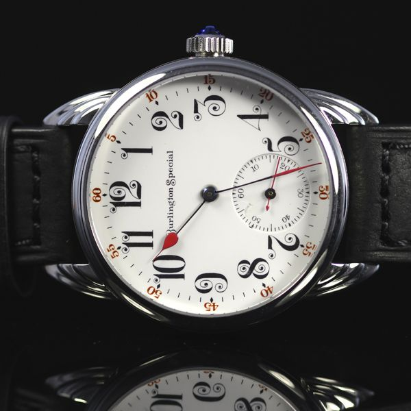 """Very Rare Burlington Special,made by Burlington watch Company of Chicago, Illinois. Fancy enamel Dial with rare 19 jewel """"swan neck"""" movement from 1912. The Burlington Watch Company, was a mail-order sales company. By selling directly to the consumer, they were able to eliminate the costly sales and distribution channel. The company was in business from 1909 to 1925.  This is a """"One-Off"""" - only one in the world  case:  Polished Stainless Steel Convex sapphire crystal front, diamond coated…"""