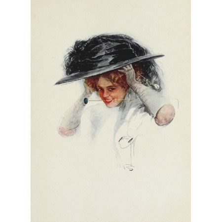 American Girls in Miniature 1912 Hat-pin Canvas Art - Harrison Fisher (24 x 36)