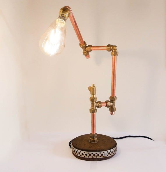 Table Lamp Table Light Pure Mineral Copper Desk Lamp Etsy In 2020 Desk Lamp Lamp Retro Table Lamps
