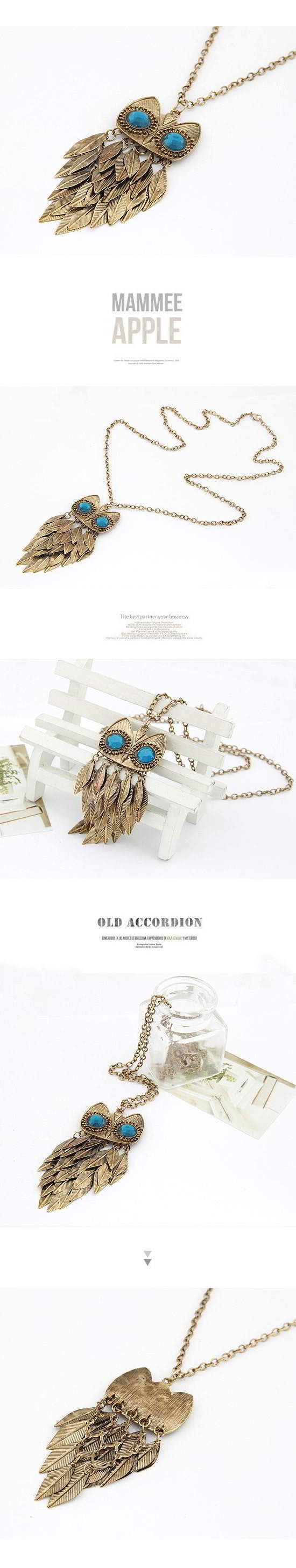 Korean Vintage Fashion Leaf OWL Pendant Charm Design Sweater Chain General. Small and catchy. REPIN if you like it.  Only 41.5 IDR