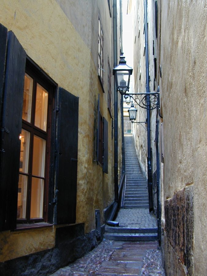 The alley of Marten Trotzig is the narrowest alley in Stockholm. Its most narrow part is only 35.4 inch wide. The alley got its name from the German salesman Marten Traubtzich who moved to Sweden in the year 1581. The alley of Marten Trotzigs has 36 steps and goes from the street Vasterlanggatan to the street Prastgatan