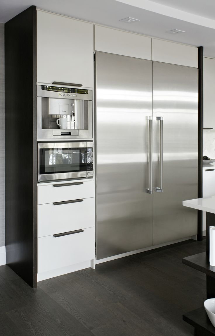 Style At Home Erins Kitchen - fridge | microwave | wall oven | dark wood end panel