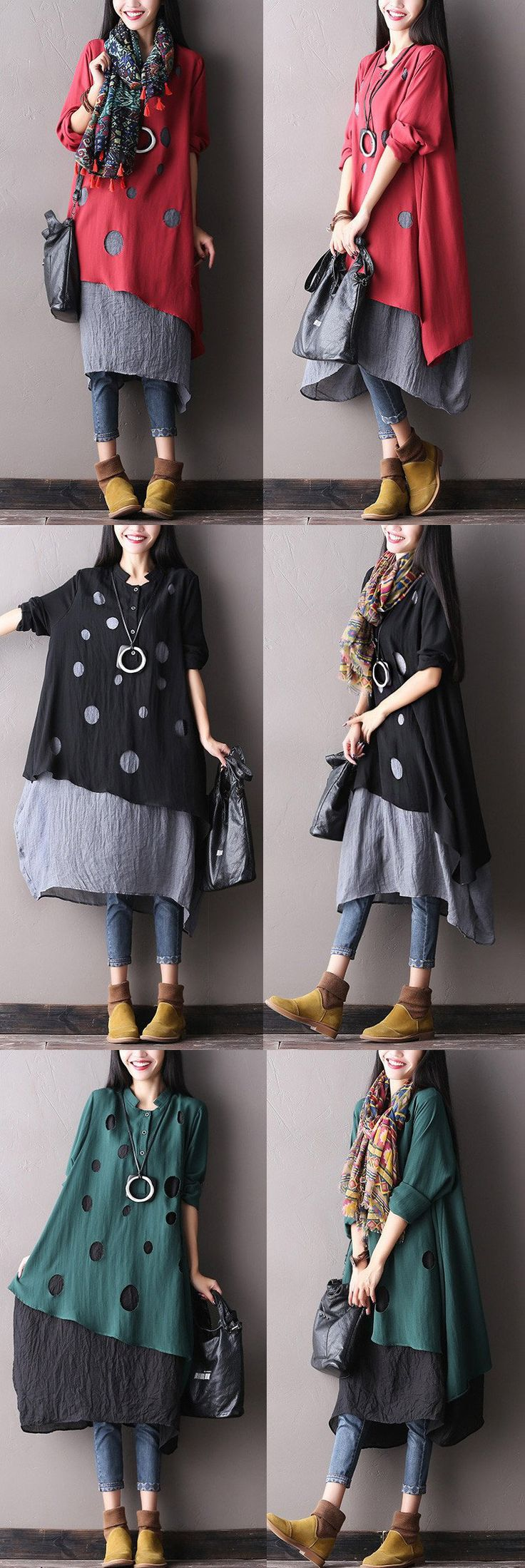 Women cotton autumn Loose waist dress with long seelve.Excellent condition. would you like it? have a look on our shop buykud.com