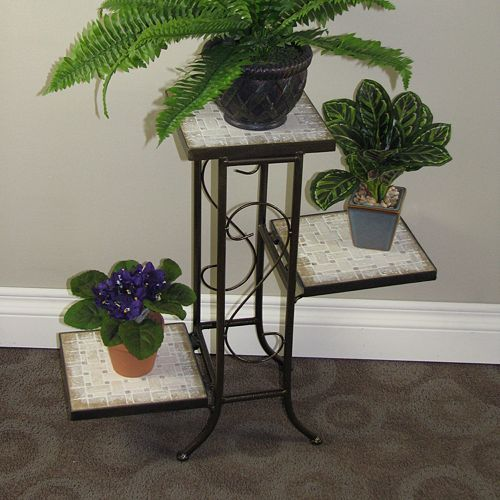 Travertine 3 Tier Plant Stand   Outdoor