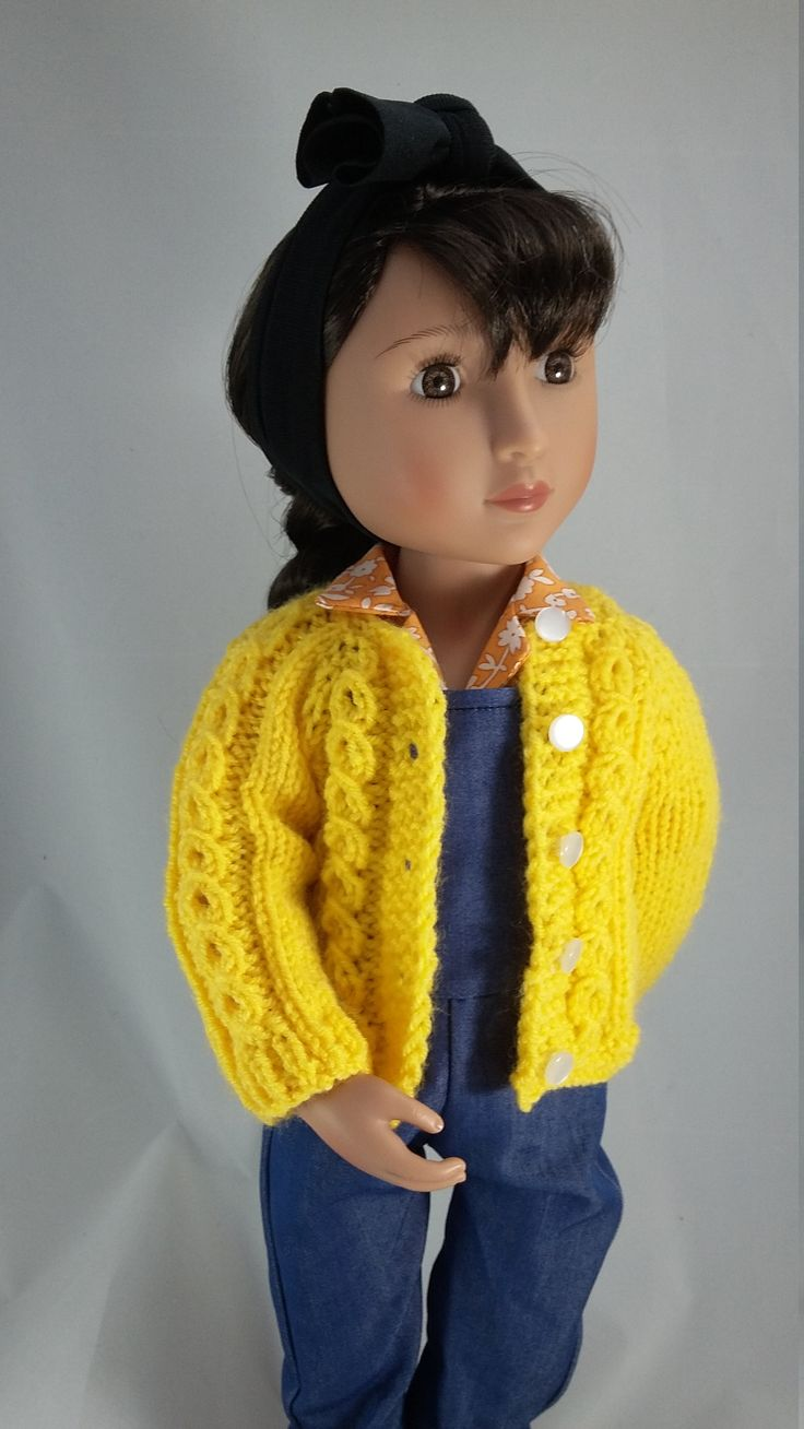 "16""doll clothes- Sunshine yellow cardigan sweater, A Girl for all Time, AGAT by Grandmasadiescloset on Etsy"