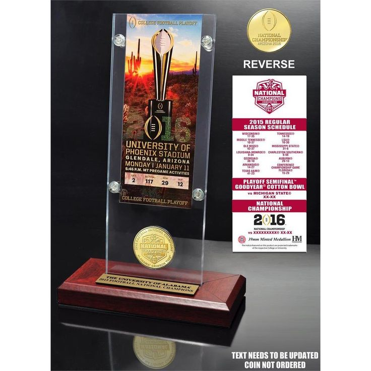Highland Mint Alabama 2015 College Football National Champions Ticket & Bronze Coin Acrylic Desktop