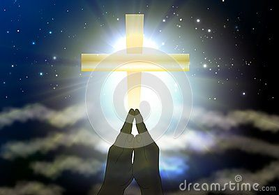 Hands silhouette praying, gratefully and humbled at Universe, yellow big cross with bright white light and sun rays on surreal sky. Praising to Heaven background.
