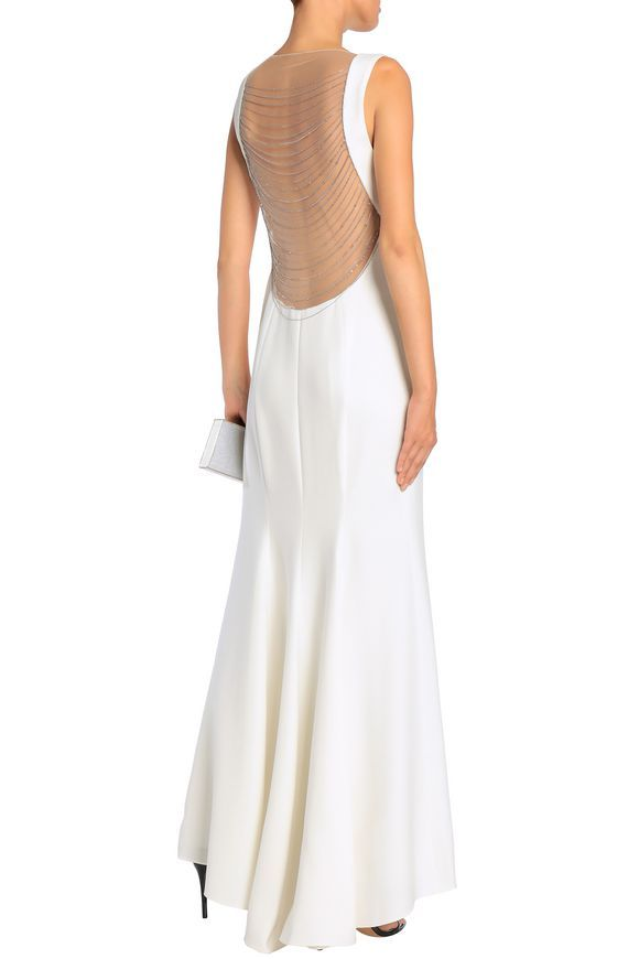 f799ec4df214e ELIE TAHARI Marvela tulle-paneled chain-embellished crepe gown ...