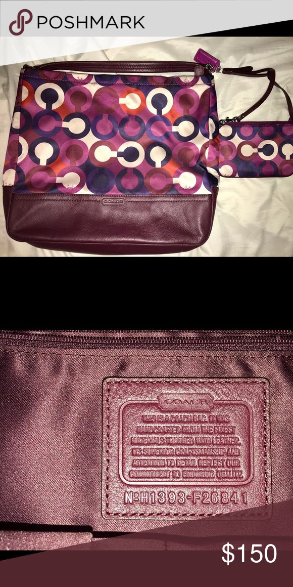 Maroon Coach purse with matching wristlet Clean Coach purse with matching wristlet Coach Bags Shoulder Bags