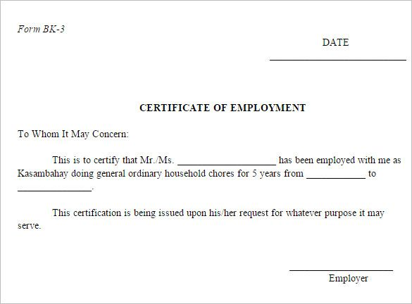 employment certificate free word pdf documents download sample - certification of employment sample