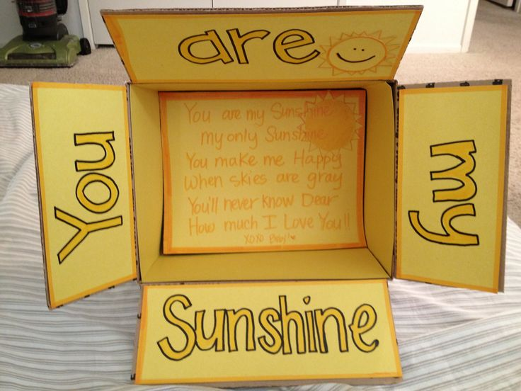 Sunshine care package box! Used to sing this to Sofia!