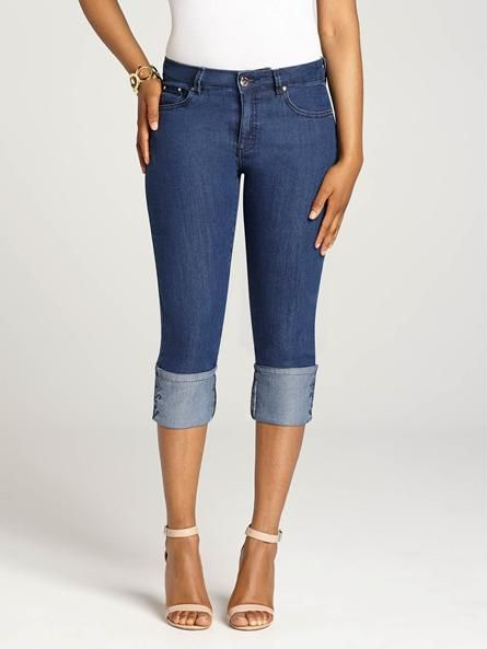 """Laura Petites: for women 5'4"""" and under. Sleek denim capris update your Spring look with comfort and flair! These cuffed beauties will give your look a casual, but perfectly chic, finish!...4010333-0237"""