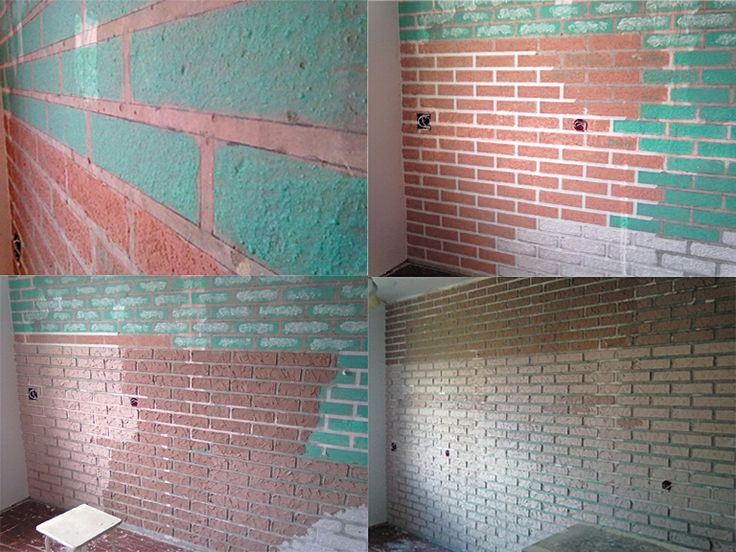 Имитация кирпичной кладки своими руками из гипсовой шпатлевки: 1 удаление старых обоев 2 разлиновка стены на кирпичи по уровню 3 нанесение на нарисованные кирпичи бетоноконтакта 4 швы обклеиваются малярной лентой 1,5см 5 нанести шпатлевку 6 после полного высыхания зашкурить, прогрунтовать и покрасить