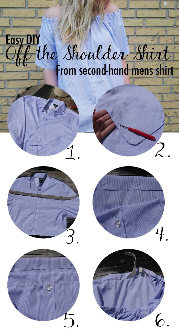Easy DIY Off the shoulder shirt from a mens shirt
