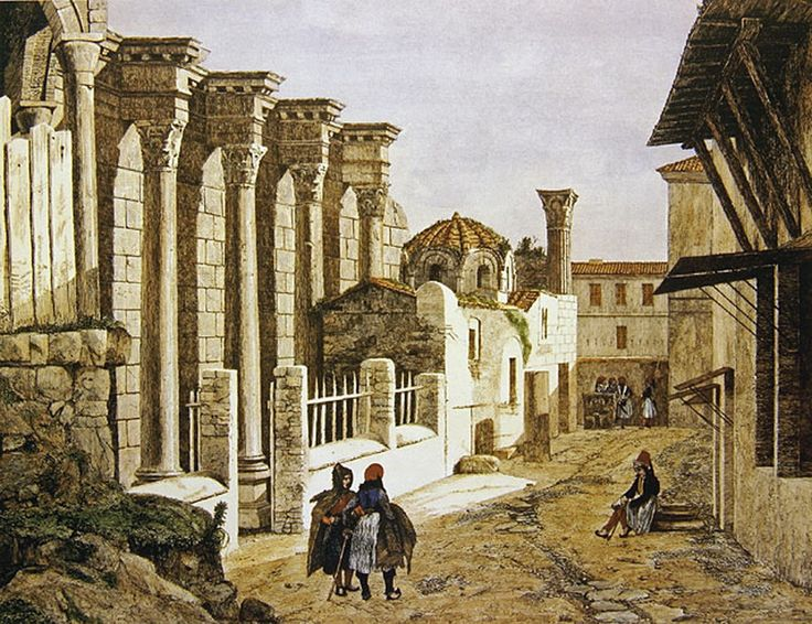 Andrea Gasparini (1831-1879)-Δυτικός τοίχος της Βιβλιοθήκης του Αδριανού και η εκκλησία των Αγίων Ασωμάτων, 1844