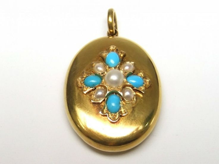 15ct pearl and turquoise locket